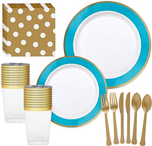 Turquoise Plate Buffet - Party City Premium Caribbean Blue Border and Gold Tableware Supplies for 20 Guests, With Plates, Napkins, and Utensils