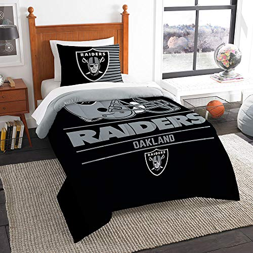 Oakland Raiders Twin Comforter - The Northwest Company NFL Oakland Raiders Twin Comforter and Sham, One Size, Multicolor