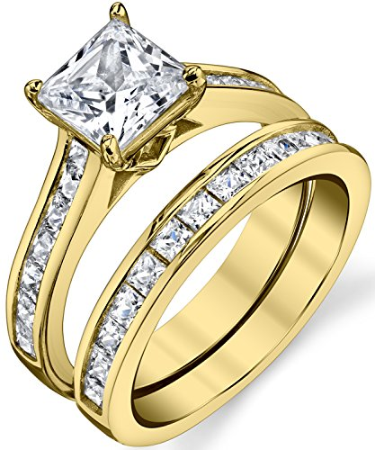 Gold Tone Over Solid Sterling Silver Princess Cut Bridal Set Engagement Wedding Ring Bands With Cubic Zirconia 6 ()
