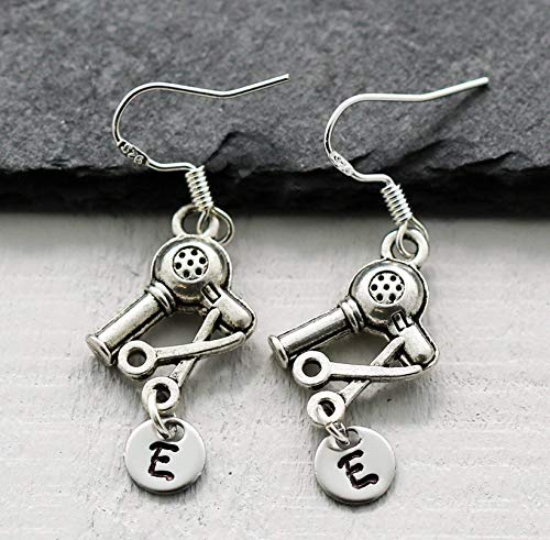 Earrings for Hair Stylist - Blow Dryer Earrings - Personalized Hairdresser Gifts for Women - 925 Sterling Silver - Custom Initial