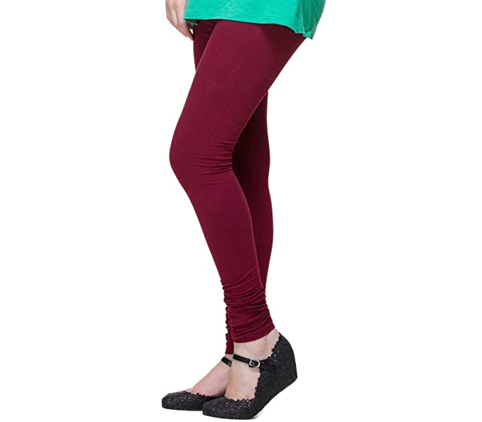 30addc3897 Image Unavailable. Image not available for. Color: Deep Maroon Color Indian Churidar  Cotton Leggings for Women Yoga ...