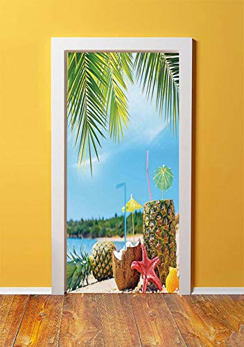 - Tropical 3D Door Sticker Wall Decals Mural Wallpaper,Fresh Summer Fruits Coconut and Pineapple Drinks at Exotic Beach Palm Trees,DIY Art Home Decor Poster Decoration 30.3x78.13343,Blue Green Brown