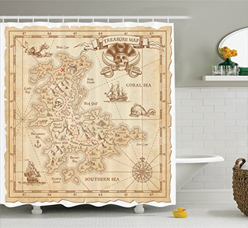 treasure map shower curtain - 9