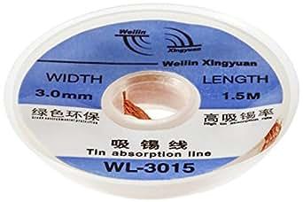 Sourcingmap a12021600ux0484 - Longitud 1,5 m rollo de alambre de cobre trenzado ancho de 3 mm desoldar mecha