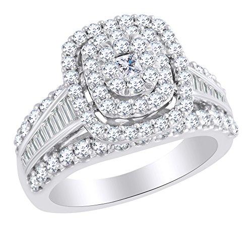 IGI certified White Natural Diamond Engagement Ring In 14k White Gold (1.90 cttw) Ring Size-13