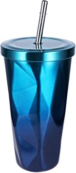 500ml Stainless Steel Diamond-shaped Vacuum Coffee Mug Juice Cup With Lid Straw