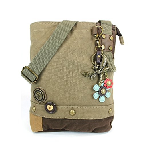 (Chala Patch Cross-Body Women Handbag, Canvas Messenger Bag, Metal Dragonfly - Olive)