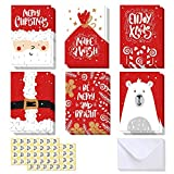48 Pack Merry Christmas Greeting Cards Assortment, Ohuhu Blank Side Note Card W/48 Envelopes & 48 Stickers for Gifts Box, Xmas Winter Holiday Cards of 6 Designs,Polar Bear, Santa Claus, Rein Deer, Red