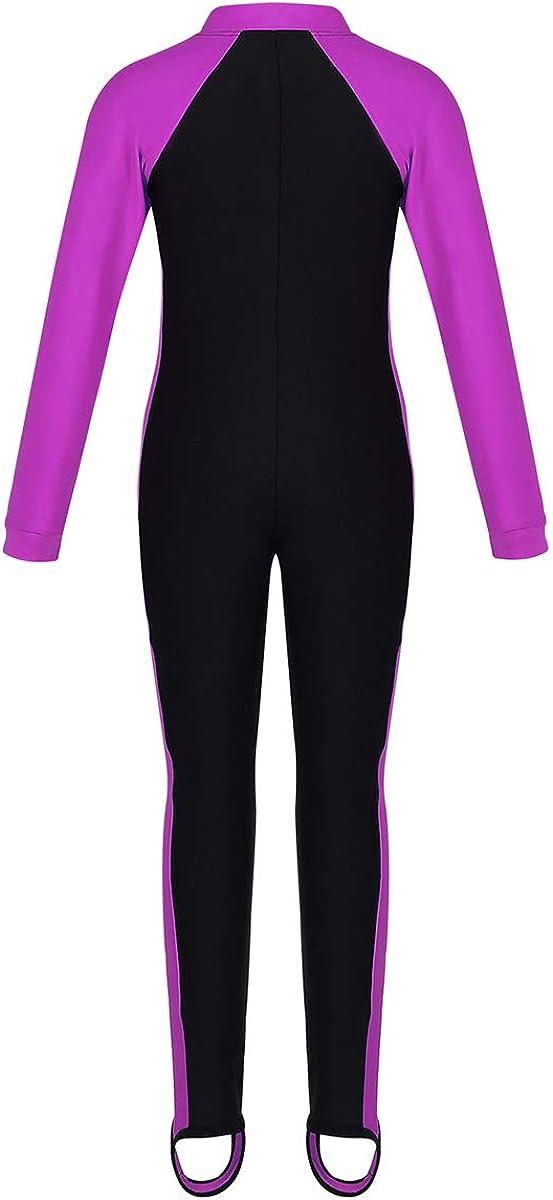 YOOJIA Kids Girls Long Sleeve Full Body Swimsuit Wet Suit One Piece Floral Rash Guard Sun Protection Swimwear