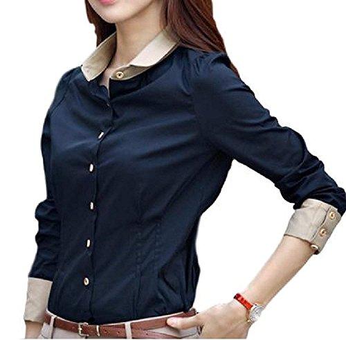 王族ステッチ広大なLIANHONG レディース ワイシャツ ブラウス 襟付き カジュアル インナー バイカラー ビジネス 長袖 (サイズ(XL))