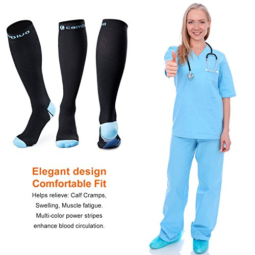 Cambivo Compression Socks Women & Men Performance Stockings Support for Running, Athletic Sports, Flight, Travel, Pregnancy, Nurses (20-30mmHg, FDA approved)