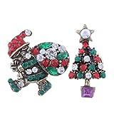 Fheaven Merry Christmas Santa Xmas Tree Boot Brooch Pin Party Gifts Broach Badge Set (D)