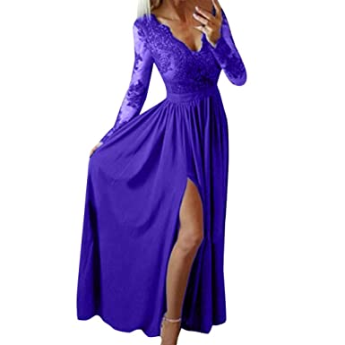 783cfeb8403a0 Sexy Evening Party Club Dresses, Women Split Side Formal Lace Long Sleeve  Party Maxi Dresses