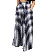 HuiSiFang Women Palazzo Pants Casual Pleated Long Pants Solid High Waisted Stretchy Loose Wide Le...