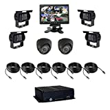 8 Channel AHD 1080N HDD Vehicle Mobile DVR Security Surveillance System Black Box Kit - Support 4G Live View Monitoring, GPS Tracking with 6 Metal-cased Car Cameras, 7'' Monitor and More