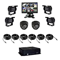 8 Channel AHD 1080N HDD Vehicle Mobile DVR Security Surveillance System Black Box Kit - Support 4G Live View Monitoring, GPS Tracking with 6 Metal-cased Car Cameras, 7