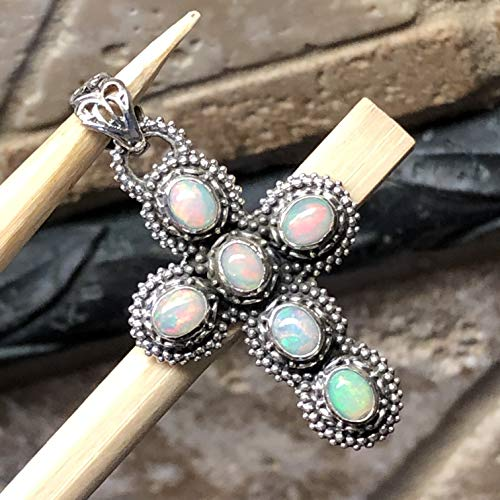 AAA Genuine Ethiopian Opal 925 Solid Sterling Silver Cross Pendant 35mm Long