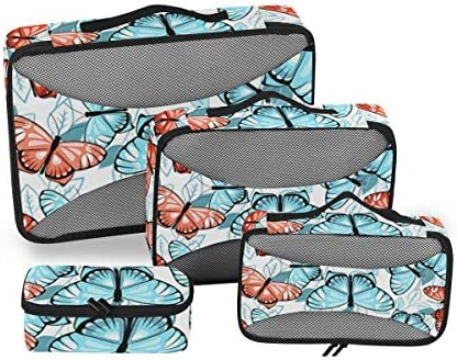 トラベル ポーチ 旅行用 収納ケース 4点セット トラベルポーチセット アレンジケース スーツケース整理 ブルー ピンク バタフライ リーフ 葉っぱ 収納ポーチ 大容量 軽量 衣類 トイレタリーバッグ インナーバッグ