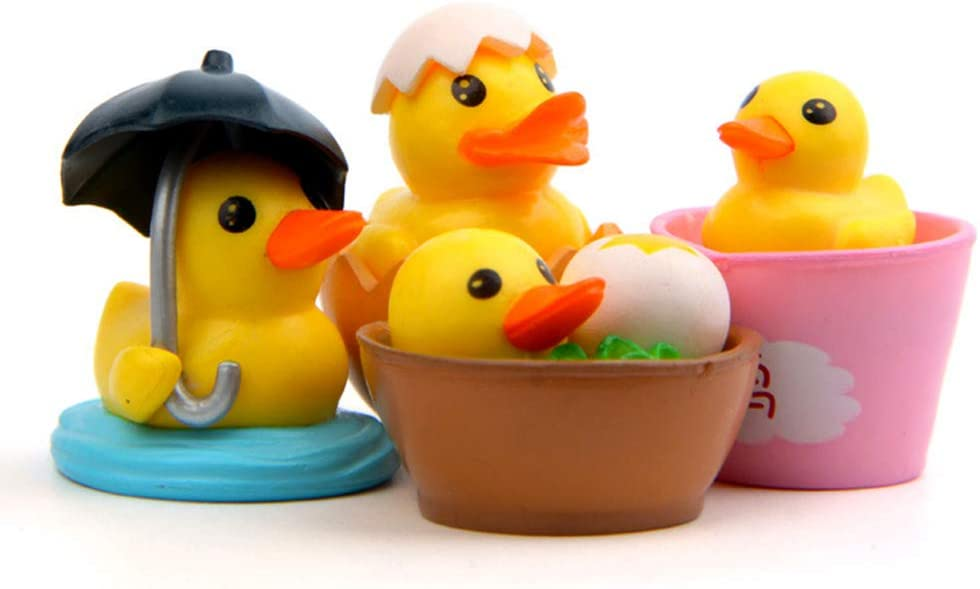 Duck Figurines Collection Playset for Christmas Birthday Gift Desk Decorations Little Yellow Duck Figures 12pcs Cake Topper Toys