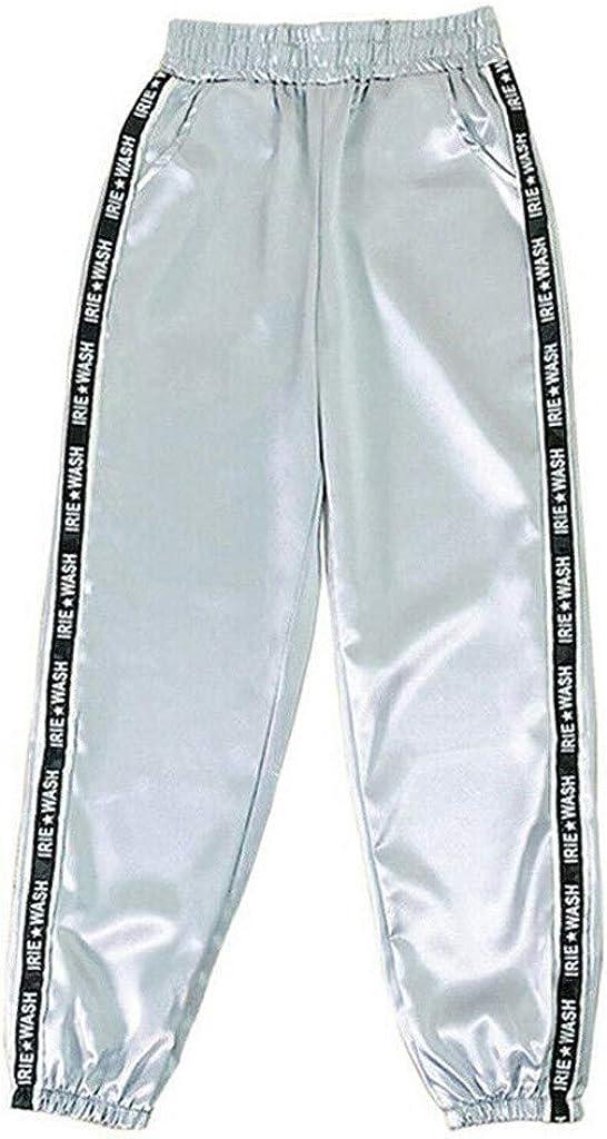 Pantalones de Entrenamiento Elásticos Pantalones de Bolsillo con Estampado de Letras de Moda para Mujer Pantalones Largos de Cinta Deportiva Reflectante de Cintura Elástica para Yoga Running Fitness
