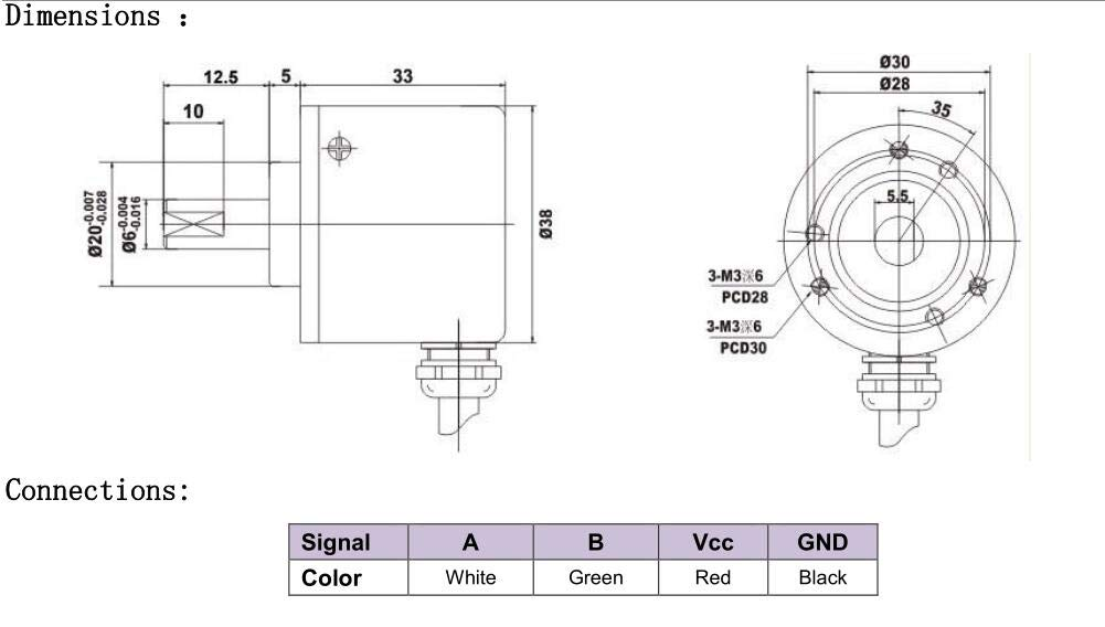 Incremental Optical Rotary Encoder 100 200 360 500 100 PPR A B 90/° Phase NPN PNP Open Collector Out 8-24NPN, 200