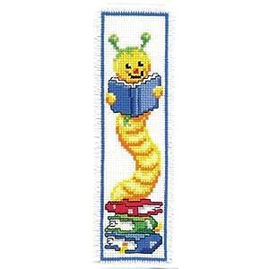 Vervaco - Kit para marcapáginas de punto de cruz, diseño de gusano con libros, multicolor