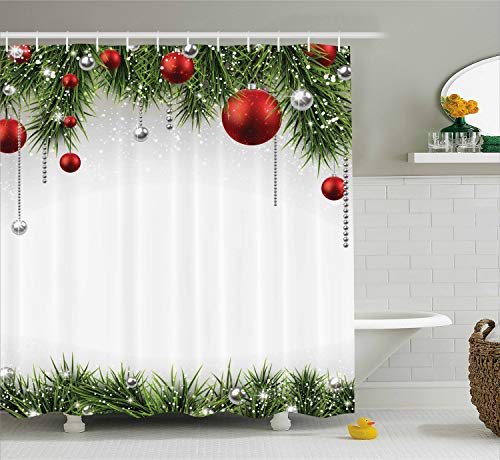 Ambesonne Christmas Shower Curtain, Classical Christmas Ornaments and Baubles Coniferous Pine Tree Twig Tinsel Print, Cloth Fabric Bathroom Decor Set with Hooks, 75