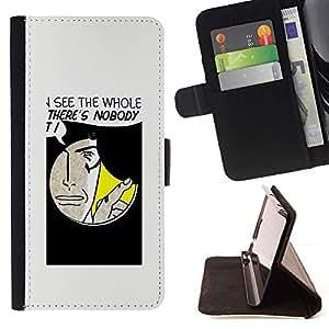 Momo Phone Case / Flip Funda de Cuero Case Cover - Agujero Spy Comic Arte de la historieta Cita Cara Hombre - HTC One A9