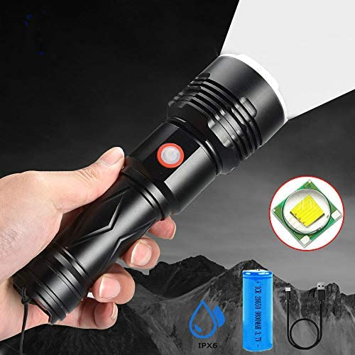BAJIE Flashlight Led Ultra Bright Flashlight P50 High-Power Glare Torch Uses 26650 Battery Lasting Life Outdoor Camping Light Tactical LedPackage C
