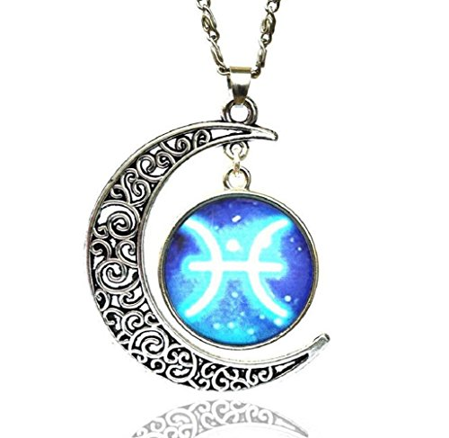 [Fariishta Jewelry Gemstone Constellation Star Moon Time Pisces Pendant Necklace] (Dallas Wholesaler Costumes Jewelry)