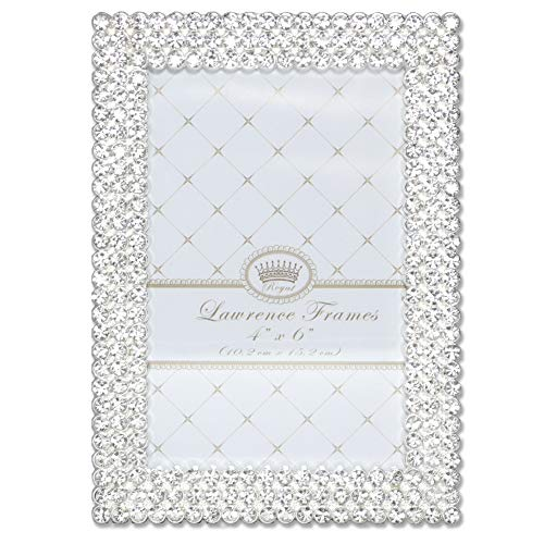 - Lawrence Frames 4x6 Juliet Silver Metal Crystals Picture Frame,