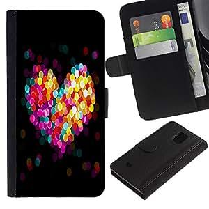 Samsung Galaxy S5 Mini / SM-G800 (Not For S5!!!) , la tarjeta de Crédito Slots PU Funda de cuero Monedero caso cubierta de piel (Bokeh Colorful Heart)