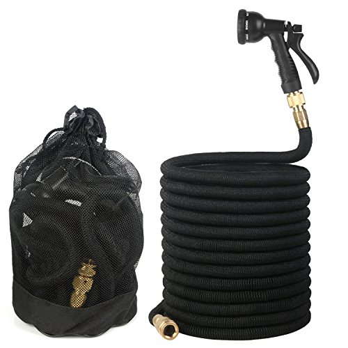 50ft Expandable Garden Hose, Flexible Water Hose with Triple Layered Latex Core, 3/4″ Solid Brass Fittings, Lightweight Expanding Hose with 8 Patterns Spray Nozzle, Free Storage Bag