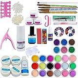 Coscelia 29 in 1 Combo Set 24 Varied Colors of Acrylic Powders Glitter Liquid Professional DIY UV Gel Nail Art Kit French Tips Nail Salon Kit Acrylic Set
