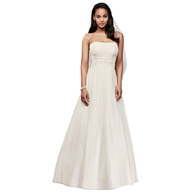 55f5af78d1a Soft Chiffon Wedding Dress with Beaded Lace Detail Style V9743 at ...