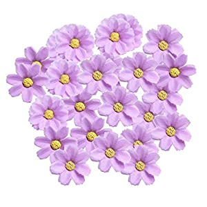 KODORIA 100pcs Artificial Flower Heads Silk Daisy Flower Heads for DIY Baby Shower, Home Party Wedding Favor Decoration DIY Craft Fake Flowers - Purple 23