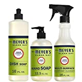 Mrs. Meyer's Clean Day Kitchen Basics Set, Lemon Verbena Cleaning Supplies, 3 Count Pack