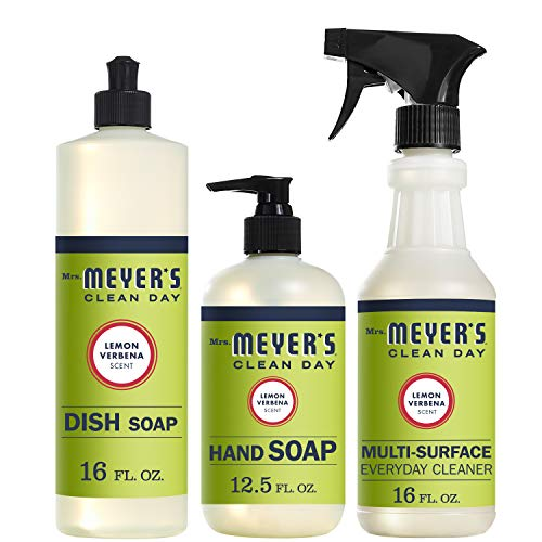 Mrs. Meyer's Clean Day Kitchen Basics Set, Lemon Verbena, 3 ct: Dish Soap (16 fl oz), Hand Soap (12.5 fl oz), Multi-Surface Everyday Cleaner (16 fl oz) Back To Basics Scented Shampoo