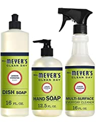 Mrs. Meyer's Clean Day Kitchen Basics Set, Lemon Verbena Cleaning Supplies, 3 Count Pack
