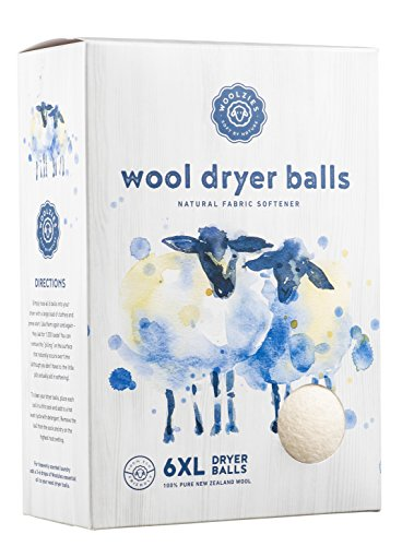 Woolzies, the Original Highest Quality Wool Dryer Balls Set of 6 Xl,Best Natural Fabric Softener,...