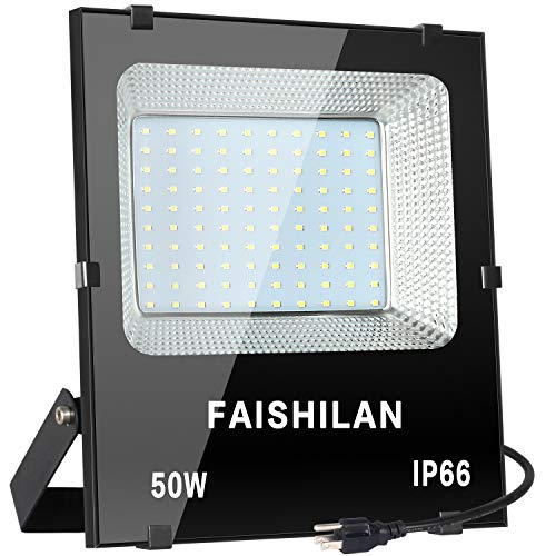 FAISHILAN 50W LED Flood Light, 50W(250W Halogen Equiv),Outdoor IP66 Waterproof Work Lights, 5000Lm,6500K,Outdoor Floodlight for Garage, Garden, Lawn and Yard