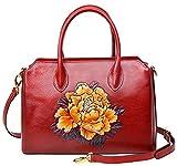 PIJUSHI Women Top Handle Satchel Handbags Shoulder Bags Floral Tote Purse 0007(One Size, Red)