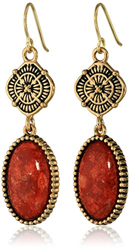 "Barse ""Canyon"" Red Sponge Coral Drop Earrings"