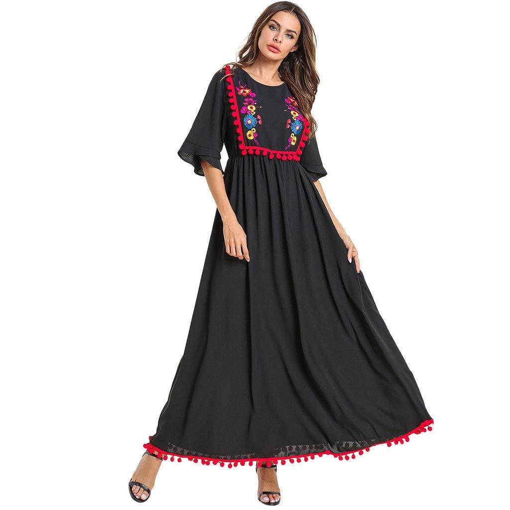 Vintage Women Islamic Muslim Dress Abaya Kaftan Long Sleeve Plus Size Robe, Abay Jilbab Islamic Clothing Maxi Muslim Lace Dress by Yuege Dress