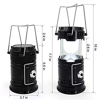 Solar Lantern, GARMAR Portable Outdoor LED Camping Lantern Flashlight, Rechargeable Bright Night Lamp for Hiking, Camping, Emergencies, Hurricanes, Outages.