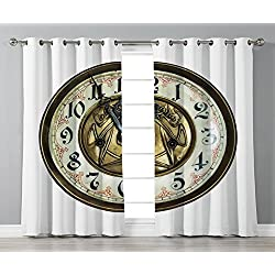 Thermal Insulated Blackout Grommet Window Curtains,Clock Decor,Antique Theme a Vintage Clock with a Face on It Stylish Decorative Pattern,Gold and White,2 Panel Set Window Drapes,for Living Room Bedro