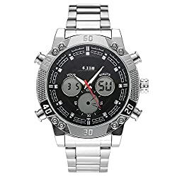 Top Plaza Men's Fashion Multifunction LCD Digital Electronic Sports Watch Luminous Waterproof Analog Quartz Watch,Double Movement,Alarm Clock,12/24 Hours,Screw Decorated(Black Dial Silver Band #1)