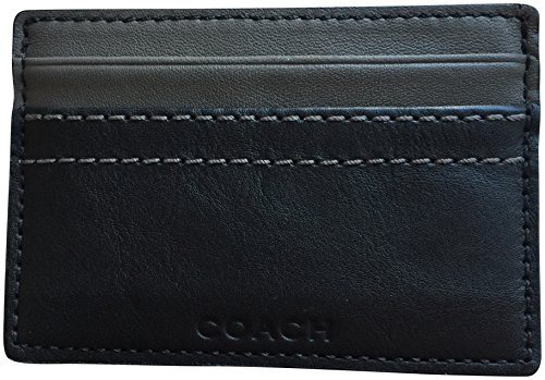 Coach Mens Heritage Stripe Slim Card Case Wallet Grey Charcoal 74515