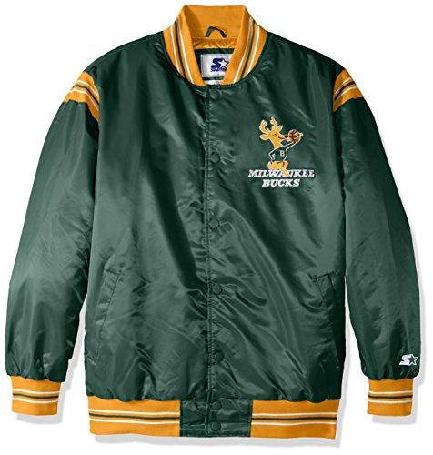 NBA Milwaukee Bucks Men's The Enforcer Retro Satin Jacket, Large, Green