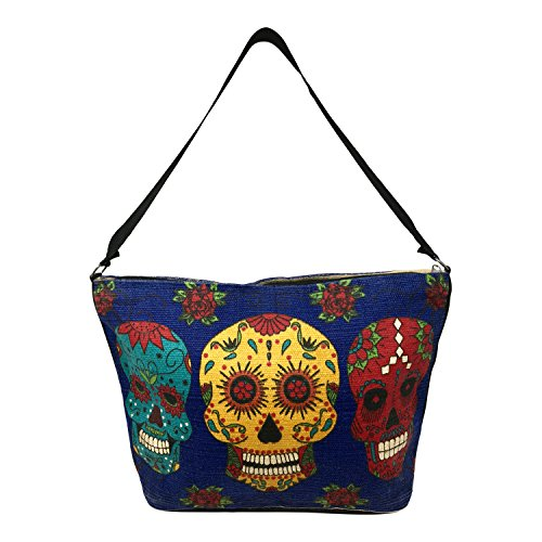 SpiritStar Sugar Skull Purse: Day of the Dead Inspired Daily Travel Bag Made with 100% Cotton (Blue Calaveras) ()